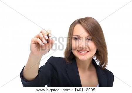 Young businesswoman with pen isolated on white background