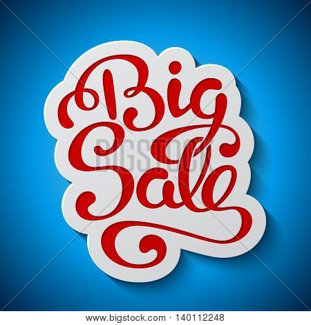 Sale banner with handwritten lettering Big Sale on blue background. Vector illustration.