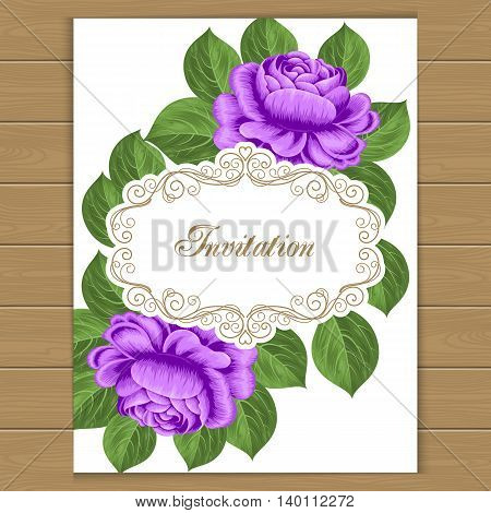 Vintage floral invitation template with hand drawn purple roses. Vector illustration in retro style.