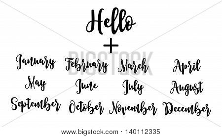 Handwritten set Hello plus months. lettering vector illustration