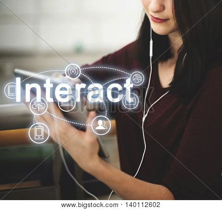 Trends Share Interact Internet Word Concept