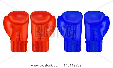 Boxing gloves. Vector illustration isolated on white background.