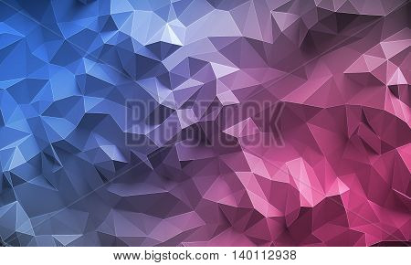 Abstract textured modern pink and blue polygonal wall background
