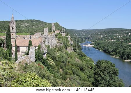 Old fortress Aiguèze overlooking the river Ardèche in France