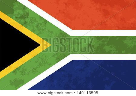True proportions South Africa flag with grunge texture
