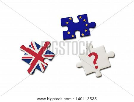 Brexit puzzle pieces with British and European Union flags and a question mark