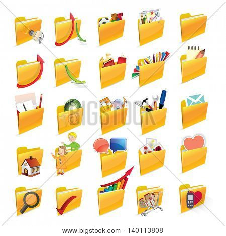 Vector illustration. Flat folders set. Security, data, games, learning, shopping, tools, music, email.