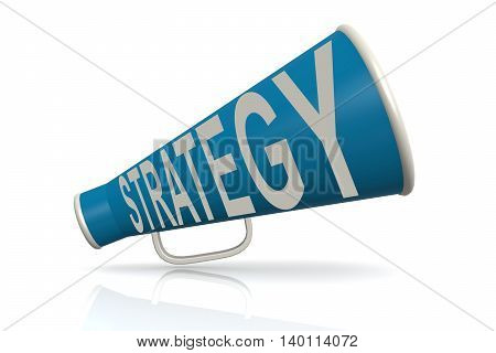Blue Megaphone With Strategy Word