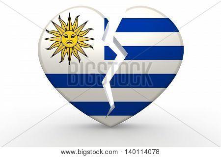 Broken White Heart Shape With Uruguay Flag