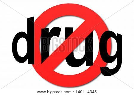 Stop Drug Sign In Red