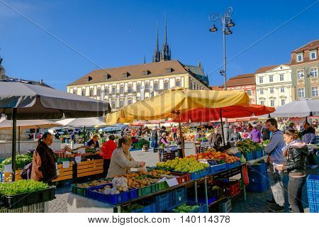 Brno, Czech Republic - April 30, 2016: People visit agricultural fair in old city at sunny day