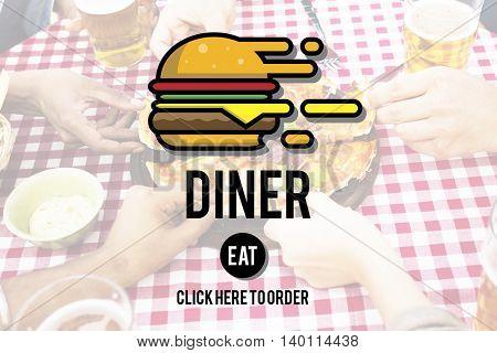 Diner Eating Restaurant Cafe Concept