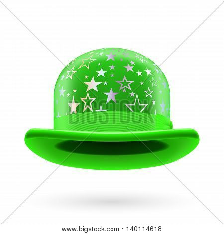 Green round bowler hat with silver glistening stars.