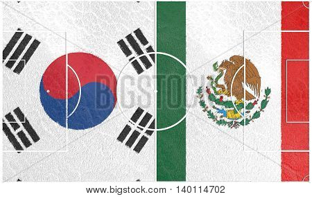 Flags of countries participating to the football tournament. Football field textured by Mexico and Korea national flags.3D rendering