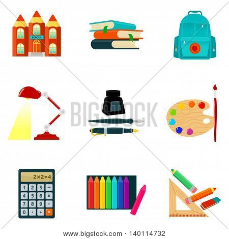 Set of school icons and symbols, sketch vector illustration isolated on white background. Creative school building logo, books backpack calculator pens pencils paints crayons lamp. Student supplies