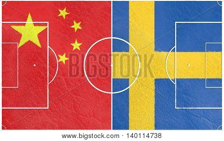 Flags of countries participating to the football tournament. Football field textured by Sweden and China national flags. 3D rendering
