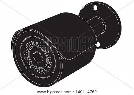 Surveillance Video Camera. Black icon. Vector illustration isolated on white background.