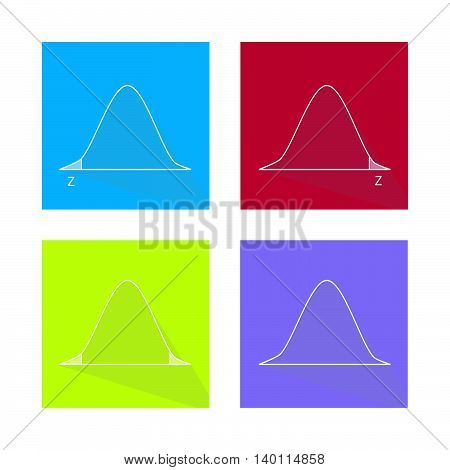Charts and Graphs Illustration Collection of Gaussian Bell Curve or Standard Normal Distribution Curve.