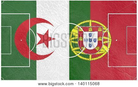 Flags of countries participating to the football tournament. Football field textured by Portugal and Algeria national flags. 3D rendering