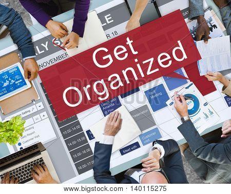 Get Organized Management Set Up Organization Plan Concept
