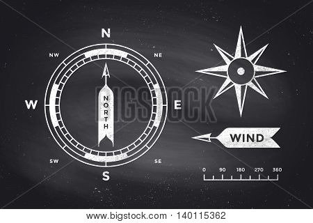 Rose Wind and Compass. Set of vintage arrows, symbols, objects for Navigation. Design elements in retro style for navigation theme on  background. Vector Illustration