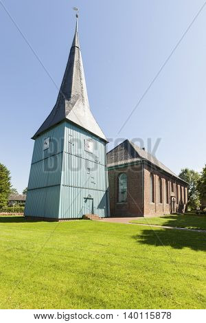 18th century church at Sankt Margarethen with its wooden blue bell tower