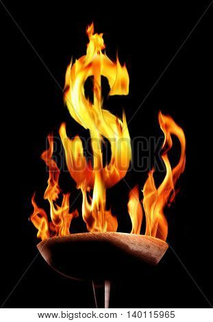 conceptual image of flaming torch and burning dollar sign
