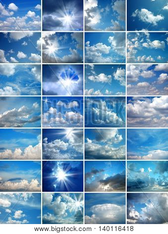 a background image of several cloudy skies