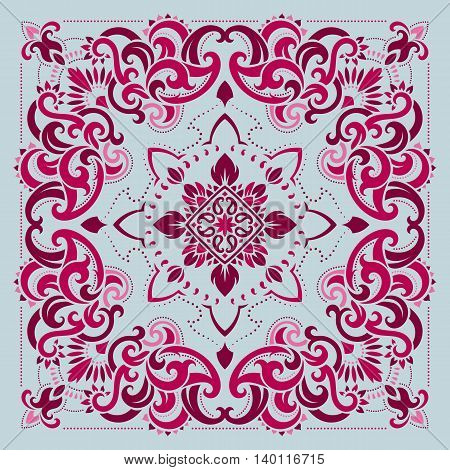 Vector ornament pink paisley Bandana Print, silk neck scarf or kerchief square pattern design style for print on fabric.