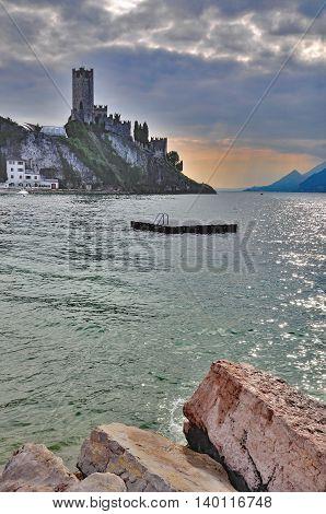 Evening in Malcesine at popular Lake Garda,italian Lakes,Italy