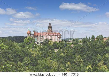 Walbrzych, Poland - July 07, 2016: Castle Ksiaz In Walbrzych, In Poland. The Castle Was Built In 128