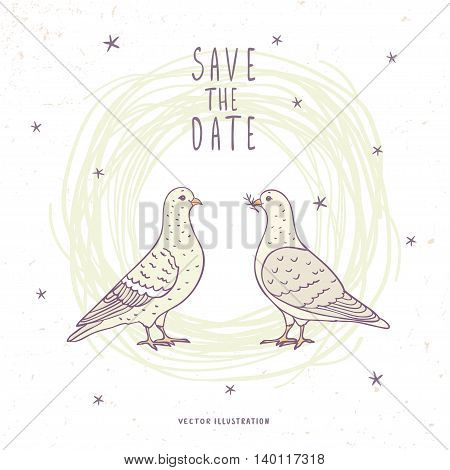 Cute two doves with sample text. Vector illustration