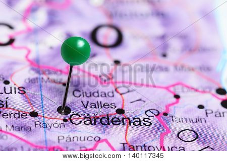 Cardenas pinned on a map of Mexico