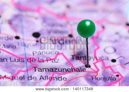 Tamazunchale pinned on a map of Mexico