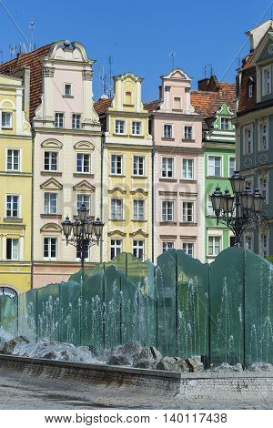 Wroclaw, Poland - July 07, 2016: Wroclaw City Center, Fountain And Market Square Tenements