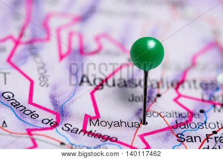 Moyahua pinned on a map of Mexico