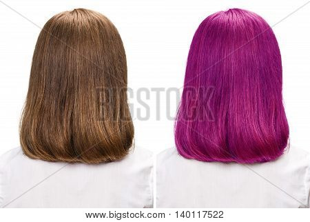 Comparative portrait of woman before and after dyeing hairs isolated on white