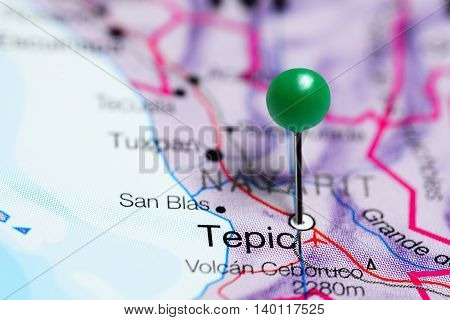 Tepic pinned on a map of Mexico