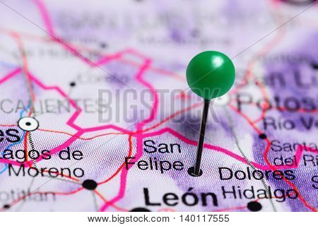 San Felipe pinned on a map of Mexico