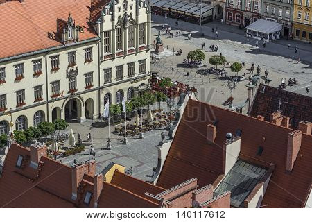 Wroclaw, Poland - July 07, 2016: Scenic Summer Aerial Panorama Of The Old Town Architecture In Wrocl