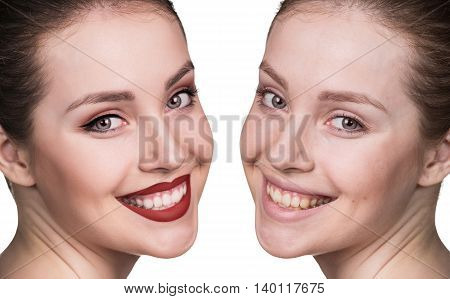 Comparison side by side portrait of young girl without and with makeup