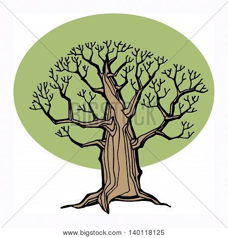 Hand drawing sketch of tree, vector illustration