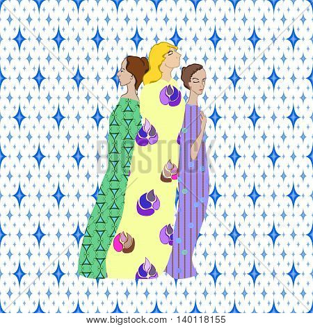 Girls Draped patterned fabrics illustration on pattern background