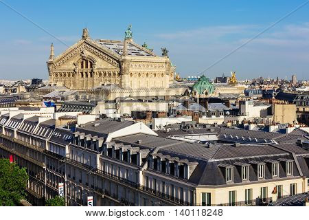 Paris France - Jule 07 2016: Panorama of Paris - Opera Garnier in the background.View of Paris from the roof of Printemps Department Store