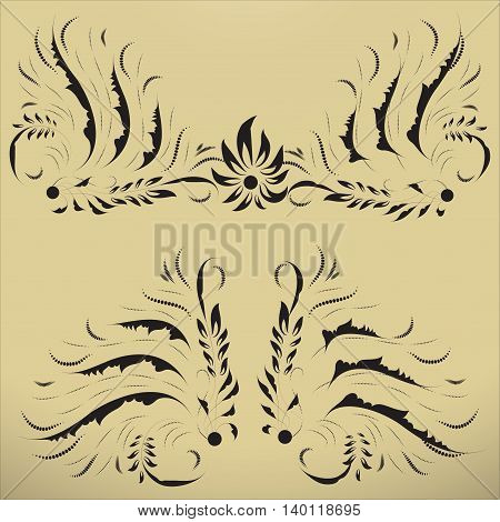 Design elements for vintage frames 1. Vector ornate motifs. Elements can be ungrouped for easy editing.