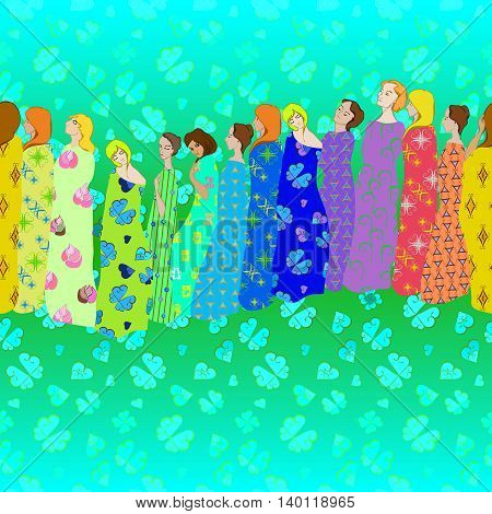 Girls Draped patterned fabrics border and seamless pattern in rainbow colors