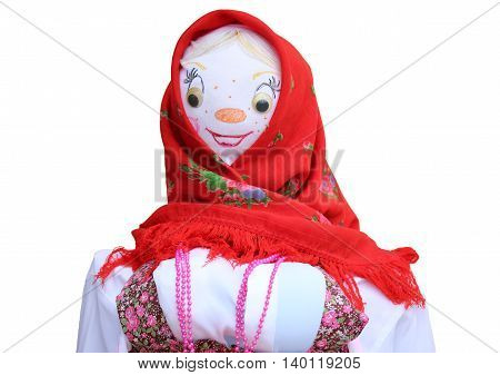 Russian Shrovetide doll. Isolation on a white background