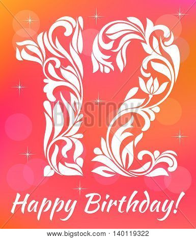 Bright Greeting Card Invitation Template. Celebrating 12 Years Birthday. Decorative Font With Swirls