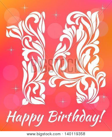 Bright Greeting Card Invitation Template. Celebrating 14 Years Birthday. Decorative Font With Swirls
