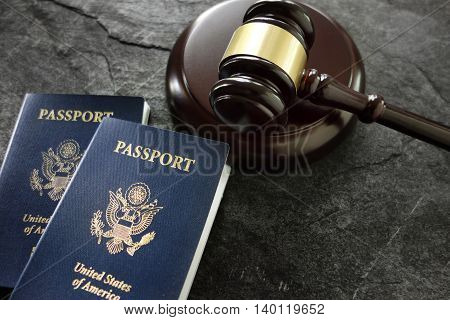 US passports and a judges legal gavel